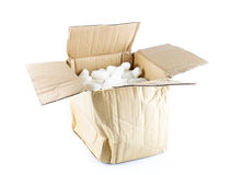 Open Crumpled brown box with white foam shockproof inside Stock Photography