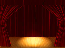 Open curtain with podium Stock Images