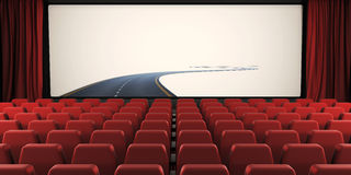 Open curtain and screen of the cinema with a road to nowhere. 3d royalty free illustration