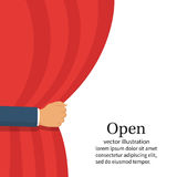 Open the curtain. vector hand. Open the curtain. Man hand open stage red curtain. Place for text template. Vector illustration flat style. Isolated on white Royalty Free Stock Photos