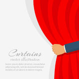 Open the curtain. vector hand. Open the curtain. Man hand open stage red curtain. Place for text template. Vector illustration flat style.  on white background Royalty Free Stock Image