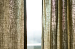 Open curtains Stock Images