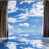 Open curtains on the sky background. Royalty Free Stock Photography