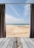 Open curtains and Window  on the wooden floor on green wall and Royalty Free Stock Photos