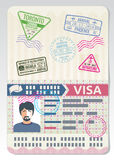 Open custom passport with visa stamps. Business travel vector concept stock illustration