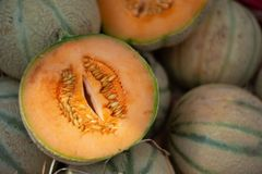 Open cut Charentais melon on market pile royalty free stock images