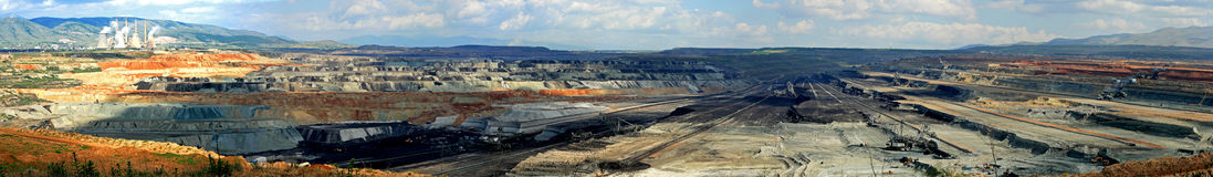 Open cut coal mine. This is a panorama photo of the South Field coal mine in the area of Kozani/Ptolemaida Greece. It is one of the largest open-cut coal mines stock photography