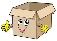 Open cute cardboard box Stock Photos
