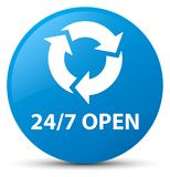24/7 open cyan blue round button. 24/7 open isolated on cyan blue round button abstract illustration Stock Images