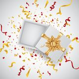 Open 3d realistic gift box with gold ribbon and confetti. Vector illustration. royalty free illustration