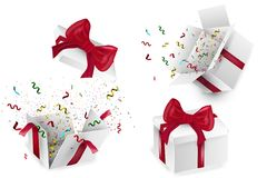 Open 3d realistic gift box with red bow and multi-colored confetti, isolated on white background with shadow. Vector illustration. Open 3d realistic gift box Stock Images