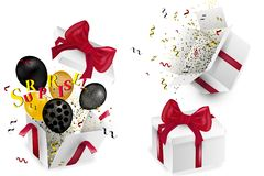 Open 3d realistic gift box with red bow and multi-colored confetti, isolated on white background with shadow. Vector illustration. Open 3d realistic gift box Royalty Free Stock Images