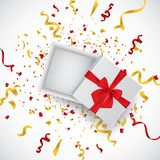 Open 3d realistic gift box with red ribbon and confetti. Vector illustration. stock illustration