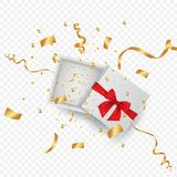 Open 3d realistic gift box with red ribbon and confetti. Vector illustration. royalty free illustration