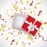 Open 3d realistic gift box with white ribbon and confetti. Vector illustration. stock illustration