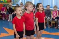 Open dag in de kleuterschool van Kaluga-gebied van Rusland stock foto's
