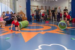 Open dag in de kleuterschool van Kaluga-gebied van Rusland stock afbeelding