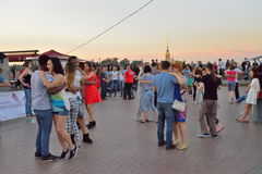 Open dance class on the spit of Vasilievsky island in the evenin Royalty Free Stock Photography