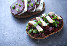 Open danish sandwich Royalty Free Stock Photo