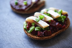 Open danish sandwich Royalty Free Stock Images