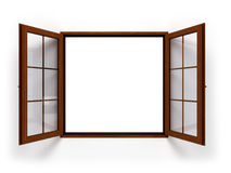 Open dark wooden window isolated close up Stock Photo
