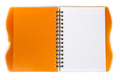 Open datebook. Open diary orange with metal spiral on a white background Royalty Free Stock Image