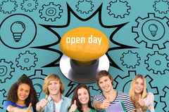 Open day against yellow push button. The word open day and happy college students gesturing thumbs up against yellow push button Stock Photos
