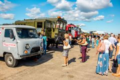 Ermolino, Russia - August 15, 2015: Open Day at the airbase in Ermolino. Aerodrome Service Equipment. Open Day at the airbase in Ermolino. Aerodrome Service royalty free stock image