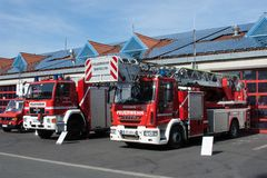 Open day of german firefighters in Bayreuth (Bavaria). While the state-wide fire service action week in September 2014 the fire department Bayreuth (Franconia Stock Images