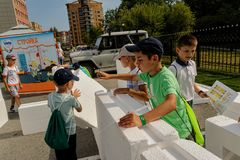 Open Day of Sberbank for children. Builder site Royalty Free Stock Images