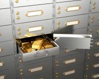Open de brandkast met goudstaven Stock Foto