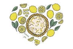 Open de citroenpastei van hartcitroenen vector illustratie