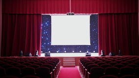 Open de Gordijnen van de bioscoopdoek stock video