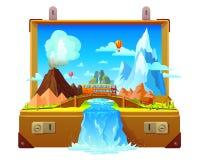 Open de Koffermalplaatje van de reistijd stock illustratie