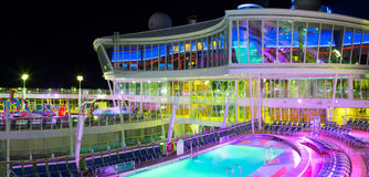 Open deck in the night time. Giant cruise ship Oasis of the Seas. Royal Caribbean. Royalty Free Stock Images