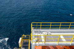 Open deck on offshore oil rig. With deep sea stock photography