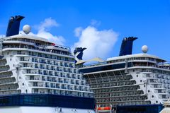 Decks on Two Cruise Ships. Open Decks on Two Cruise Ships at Dock Royalty Free Stock Image