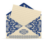 Open decorative cute envelope with letter Stock Photo
