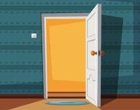 Open deur De vectorillustratie van het beeldverhaal Binnen van huis stock illustratie