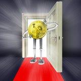 Open deur met dollarmuntstuk en gloed Royalty-vrije Stock Foto