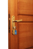 Open deur met sleutels Stock Afbeelding