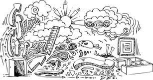 Open deur: schetsmatige krabbels Stock Foto's
