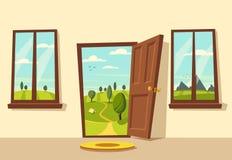 Open deur Valleilandschap De vectorillustratie van het beeldverhaal Royalty-vrije Stock Afbeelding