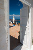 Open deuren op het balkon Stock Fotografie