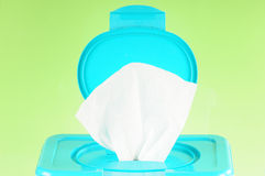 Open diaper wipes. Container of diaper wipes opened Royalty Free Stock Photography