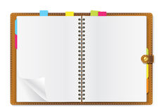 Open diary. On office table Royalty Free Stock Photography