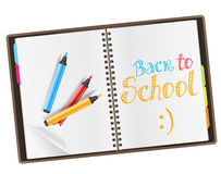 Open diary with back to school Royalty Free Stock Images