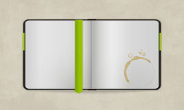 Open Diary with Blank Pages and Coffee Stain Royalty Free Stock Image