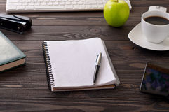 Open diary with blank pages on a office desk Stock Photos