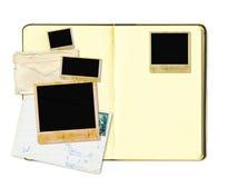 Open diary book or photo album. With vintage instant photos Stock Photos